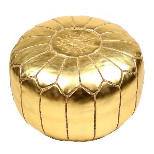 Пуф золотой марокканский из кожи