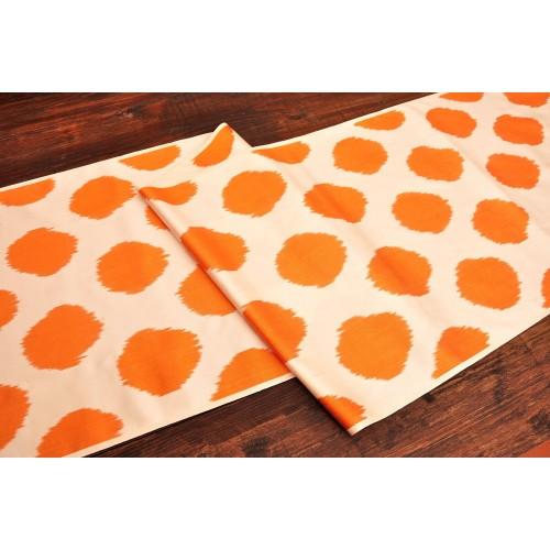 Оранжевая горошек ткань шелк