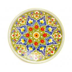 Керамика роспись тарелка, желтая 23 см
