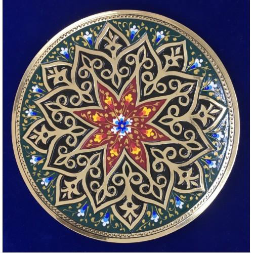 Декоративная тарелочка из меди с каллиграфическими надписями