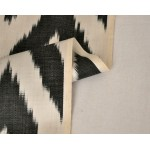 Черно-белая Икат Зигзаг - натуралная шелковая ткань