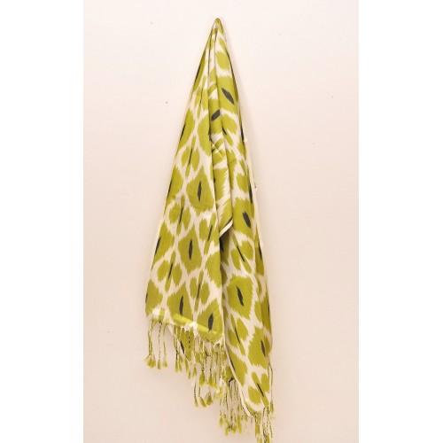 """Шелковый шарф """"Зелёный ромбик"""""""