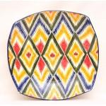 Квадратная тарелка терракотовый Икат
