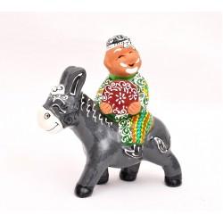 """Сувенир из керамики """"Дед на ослике"""""""