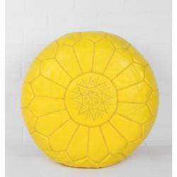 Кожанный пуф желтый Марокко