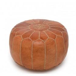 Круглый кожаный марокканский пуф
