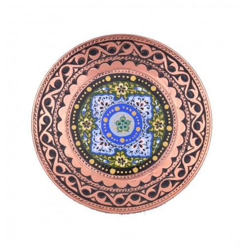 """Декоративная навесная тарелочка из меди """"Голубая композиция"""""""