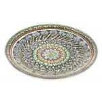 Голубая керамическая тарелка 23см