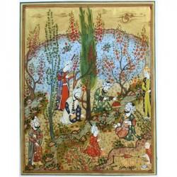"""Персидская миниатюра """"Пиршество на лоне природы"""""""
