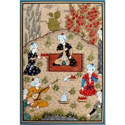"""Иранская миниатюра """"Тронная сцена в саду"""""""
